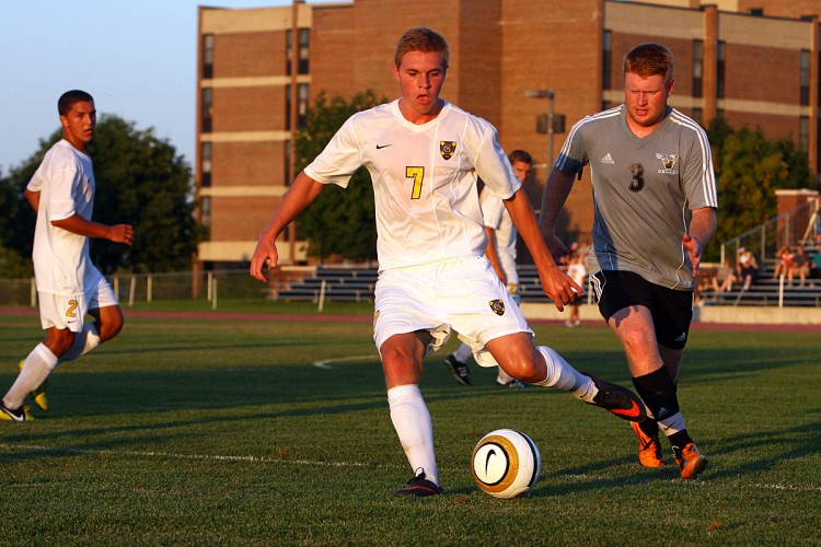 Junior Ryan Tollefsrud hit the back of the net twice in his first career match in a Gustavus uniform on Friday night in a 4-0 victory over Viterbo University.