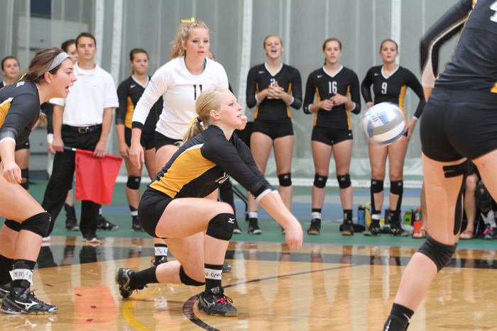 Kendra Weege digs out a ball on Saturday at the Gustavus Invitational.