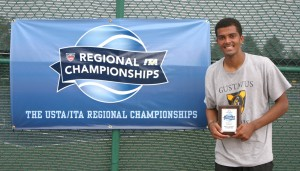 Gustavus's Mya Smith-Dennis enters this weekend's USTA/ITA Midwest Regional looking to defend his 2012 title after defeating Saint John's Fabricio Mancado in the championship last year.