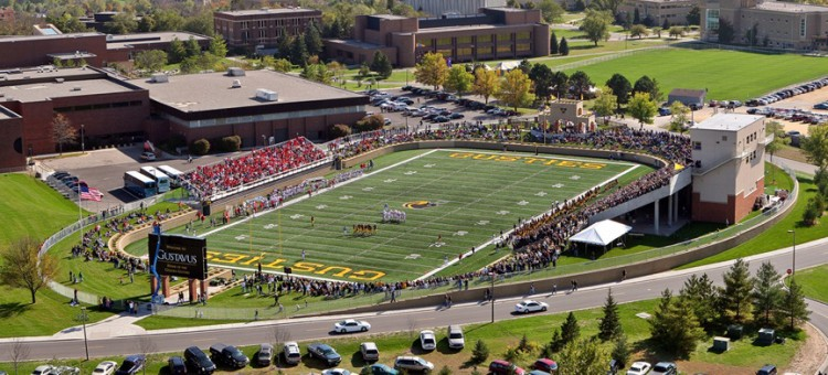 Pictured above is the first Homecoming Game played on the new Lloyd Hollingsworth Field at the Gustavus Football Stadium in 2007.  (Photo courtesy of Sports Pix Photography)