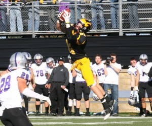 Matt Boyce leaps to haul in a reception (Photo courtesy of Laura Westphal)