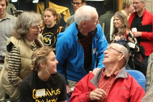 Current Gustie swimmers had the opportunity to meet those who graced the lanes of Gustavus many years before at this morning's event.