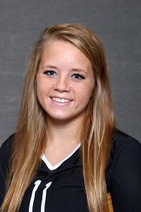 Paige Breneman came up with a match-high 15 digs in Saturday's 3-0 loss to Saint Ben's.