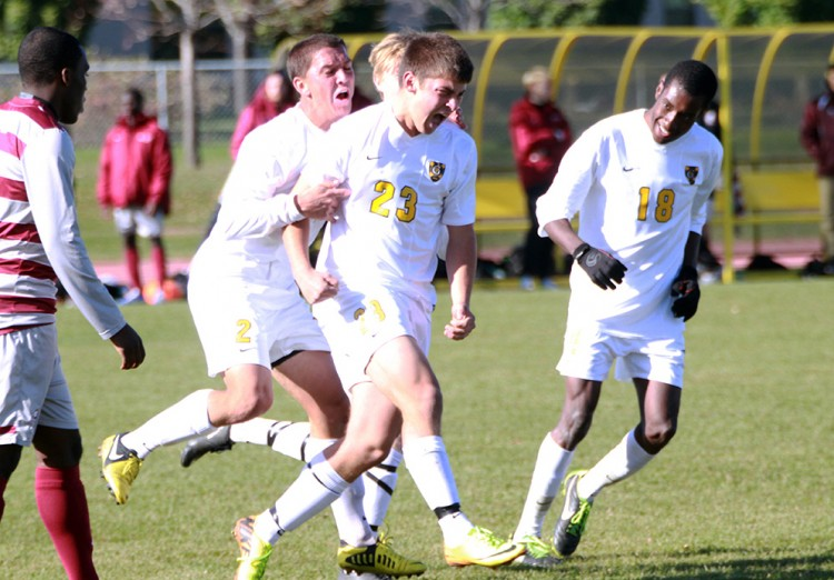 Patrick Roth celebrates after scoring the game-winning goal against Augsburg on Saturday afternoon.