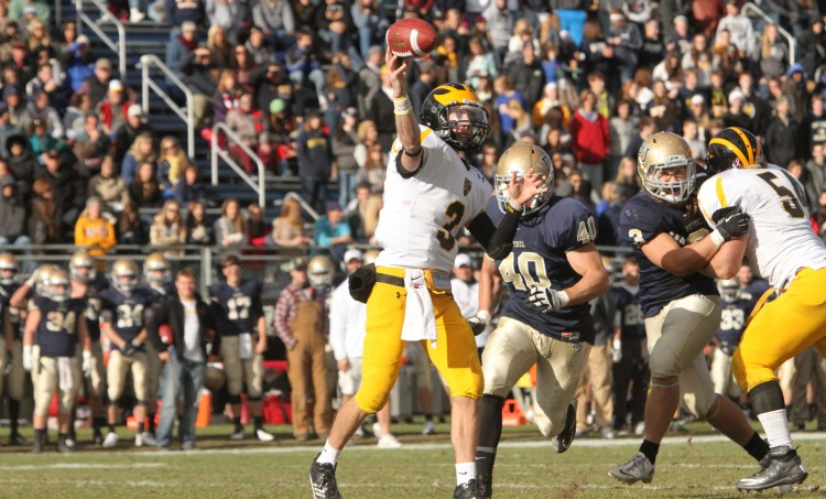 Quarterback Mitch Hendricks completed 23 of 43 passes for 264 yards and three interceptions on Saturday afternoon. (Photo courtesy of Carl Shmuland - Bethel sports information)