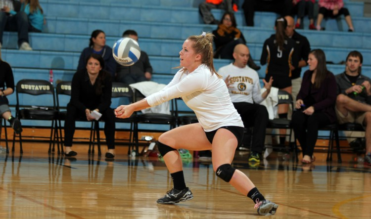 Pagie Breneman provided a season-best 38 digs in Gustavus's 3-2 victory over Buena Vista on Saturday morning.