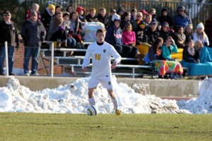 Snow lined the Gustie Soccer Field at Wednesday afternoon's MIAC Playoff Semifinal.