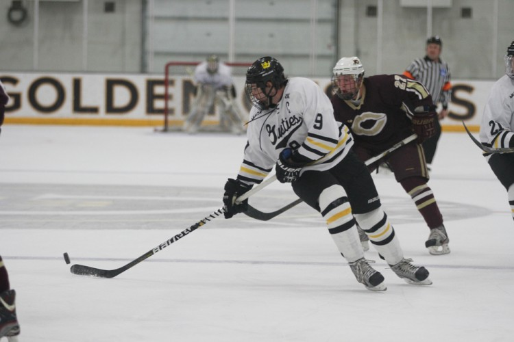 Gustavus senior captain Corey Leivermann scored the team's lone goal in a 3-1 loss to Concordia on Friday night in St. Peter.
