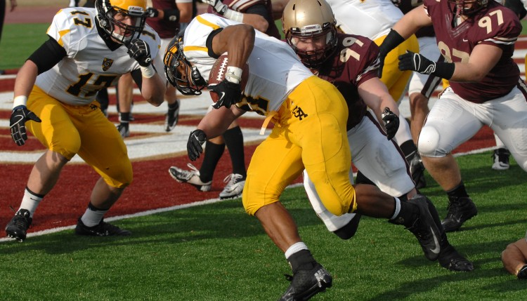 Jeffrey Dubose became Gustavus's all-time rushing leader on Saturday.  (Photo courtesy of Concordia Sports Information)