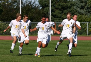 Sendelbach celebrates after scoring the game-winning goal against Concordia this season. Photo courtesy of Sport PiX.