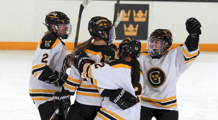 The Gusties celebrate a goal.