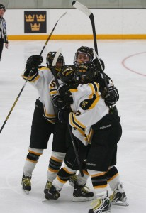 The Gusties celebrate their only goal of the night (Photo courtesy of Sport Pix)