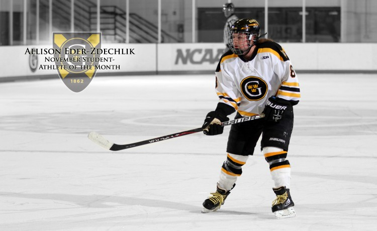 Sophomore forward Allison Eder-Zdechlik has been named the Gustavus Female Athlete of the Month for November.