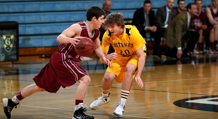 Coleman Sweeney defends Hamline's Nick Kampa in Wednesday night's win (Photo courtesy of Zach Burnside '17)