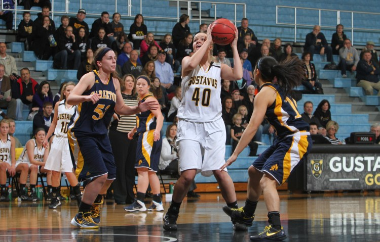 Ann Lundquist scored 15 points off the bench in Gustavus's 89-81 victory over Carleton on Saturday afternoon.  Photo courtesy of Laura Westphal - Sport PiX.