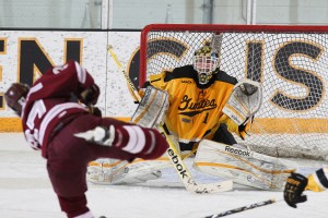 It took until the 17:43 mark of the third period for Augsburg to solve John McLean.  McLean finished with 28 saves in the win.  Photo courtesy of AJ Dahm - Sport PiX.