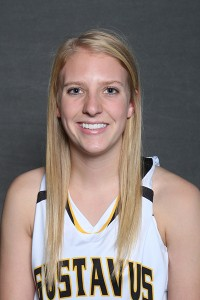 Britta Rinke led the Gusties in scoring with 17 points in Wednesday night's 60-54 loss to Bethel.