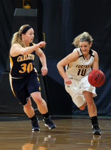 Rachelle Blaschko turned in an all-around performance with eight points to go along with 11 assists. Photo courtesy of Laura Westphal - Sport PiX