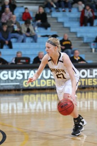 Britta Rinke was the leading rebounder for the Gusties, bringing down six boards (five defensive).