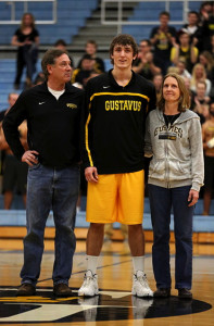 Lone senior Jordan Dick was honored with his parents prior to Wednesday night's game.