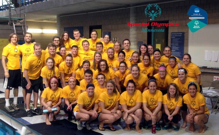 The Gustavus swimming and diving team at the Special Olympics Aquatics Competition on Feb. 9.