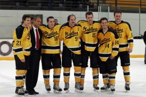 Gustavus seniors Alex Gallen, Patrick Sullivan, Gustav Bengtson, Corey Leivermann, Adam Smyth, Zach May, and Joey Olson were honored as a part of Senior Night following tonight's game.