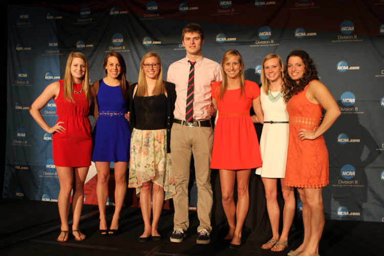 Gustavus's competitors at the NCAA Championship Banquet held Tuesday night in Indianapolis.