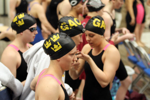 The 200-free relay team prior to its morning race.