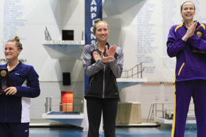 Alissa Tinklenberg on the podium following her fourth place swim in the 200 backstroke.