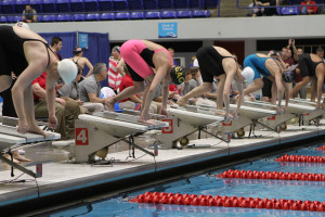 Alissa Tinklenberg on the blocks prior to the start of the preliminary 50 freestyle.