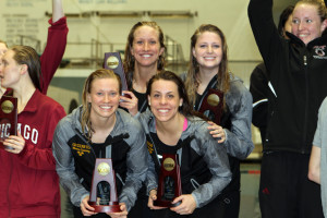 The All-American 400-free relay team just before the fire alarms went off in the IUPUI Natatorium.