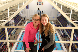 Katie Olson and Tarin Anding with the best view in the house at the top of the IUPUI Natatorium.