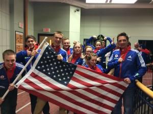 Gustafson (far right) shown with American teammates (IBU).
