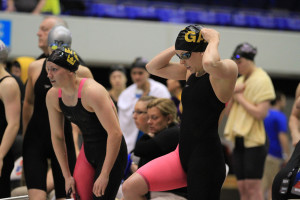 Dani Klunk readies for her leg of the 400-free relay.