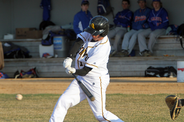 The Gustavus baseball team suffered a sweep at the hands of Macalester on Friday afternoon at the Gustie Baseball Field. Photo courtesy of Morgan Stock - Sport PiX.