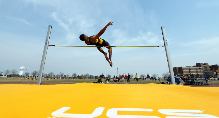 Naga Rumicho sails over the high jump bar on Saturday afternoon at the Lee Krough Invitational.