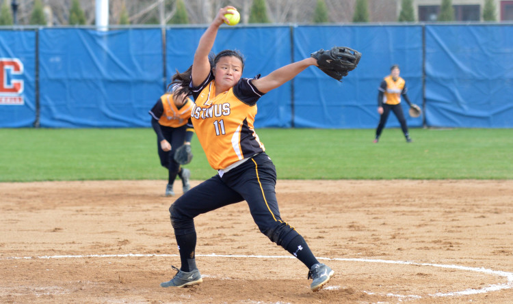Hannah Heacox pitched a no hitter in Friday's opening game to help the Gusties advance in the MIAC Playoffs (Photo courtesy of Matt Higgins – MIAC Assistant Executive Director)
