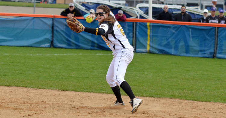 Shelby Nosan went 3 for 4 with four RBI in Saturday's loss to Bethel (Photo courtesy of Matt Higgins – MIAC Assistant Executive Director)