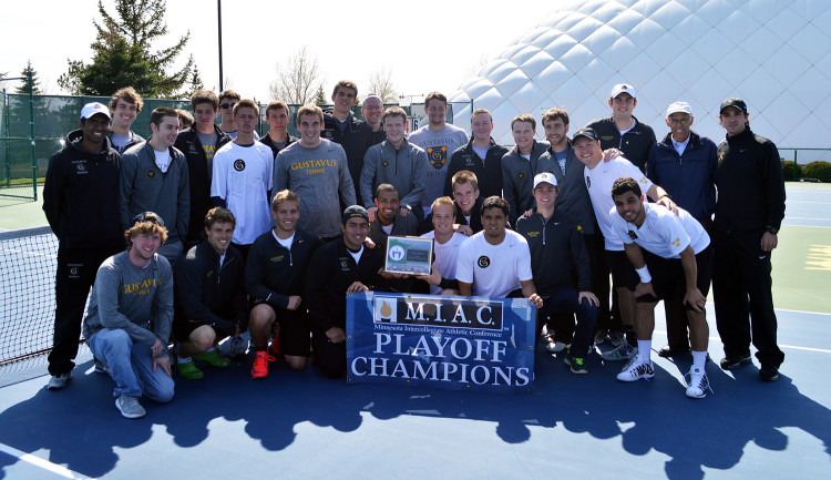 The Gustavus men's tennis team won its fourth consecutive MIAC Playoff Championship on Sunday afternoon against St. Olaf.
