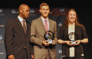 Elizabeth Weiers accepts the Elite 89 Award at the NCAA Championships Banquet.