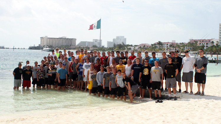 The Gustavus football team in Cancun Mexico.