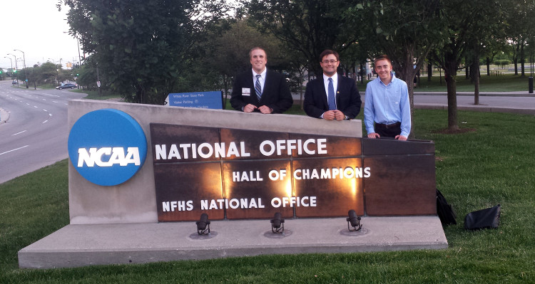 From left: Alex Brodjeski, Pat Tracy, and Matt Carlson outside NCAA Headquarters.