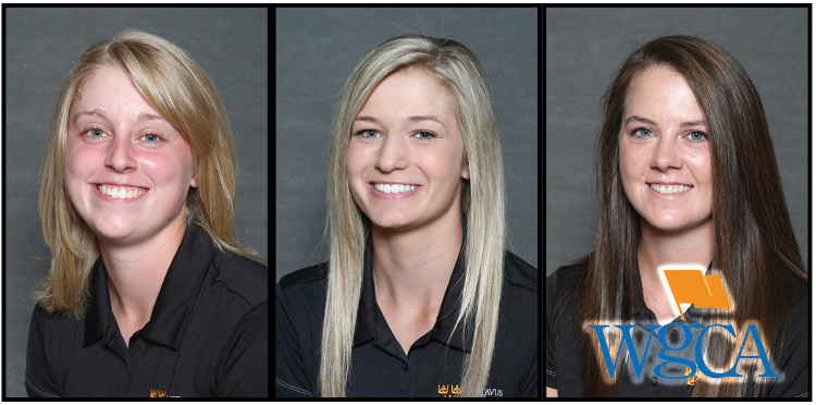 From left: Emilie Anderson, Hannah Erickson, and Mae Meierhenry have been named WGCA All-American Scholars.