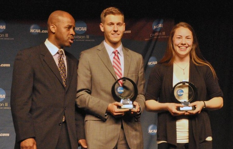 Elizabeth Weiers accepts the Elite 89 Award at the NCAA Outdoor Track & Field Championships Banquet in late May.