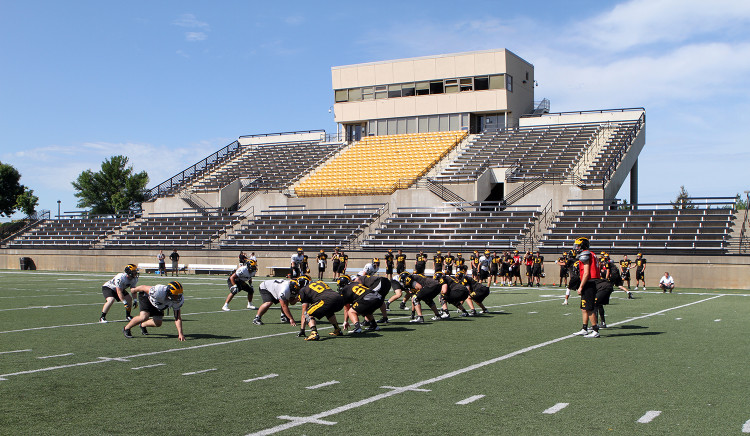 The Gustavus football team began two-a-day practices on Monday, Aug. 25.  The Gusties will break camp on Sunday, Aug. 31.