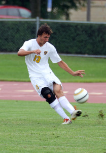Jason Schwab's game-tying goal in the first half was his first in a Gustavus uniform.