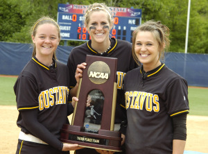 Seniors Jessie Gabbert, Rachael Click, and Emily Klein pictured with the trophy in 2009.