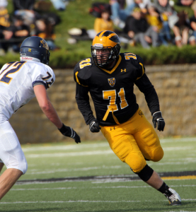 Senior defensive lineman Zach Seversen provided one of Gustavus's six sacks in what was a stifling defensive effort.