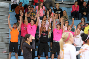 Gustavus benefited from a big crown and lots of energy on what was Dig Pink night at Gus Young Court.