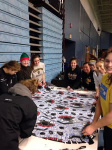 Women's hockey players get into the holiday spirit.